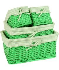 Kôš prútený zelený - sada 4 ks