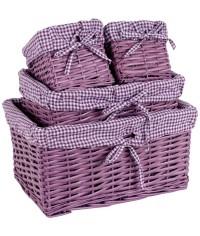 Kôš prútený fialový - sada 4 ks