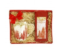 Darčekový balíček Zimná krajina červený