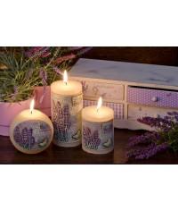 Lavender provence biela - valec 70/90 sviečka