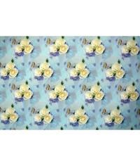 Baliaci papier Svadobný - biele ruže s modrou