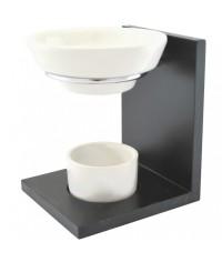 Aromalampa čierna drevo-keramika-nerez Enesa - POSLEDNÝ KUS !!!