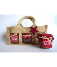 Darčekový balíček - Jutová taška na 3 ks medu