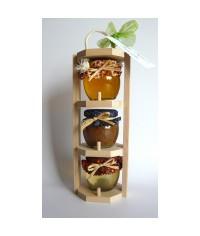 Darčekový balíček - 3 poschodový nosič  med / škorica
