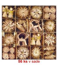 Vianočné ozdoby slamené 56 ks - gold