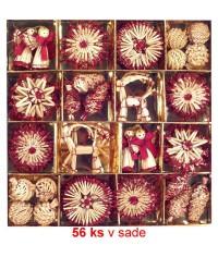 Vianočné ozdoby slamené 56 ks - red