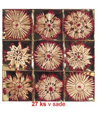 Vianočné ozdoby slamené 27 ks - red