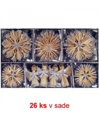 Vianočné ozdoby slamené 26 ks - silver