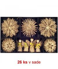 Vianočné ozdoby slamené 26 ks - gold