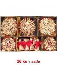 Vianočné ozdoby slamené 26 ks - red