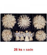 Vianočné ozdoby slamené 26 ks - creme silver