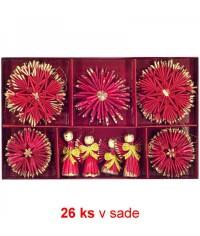 Vianočné ozdoby slamené 26 ks - extra red