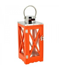 Lampáš drevený s krížom - oranžový
