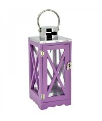 Lampáš drevený s krížom - fialový