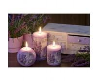 Lavender provence fialová - valec 70/90 sviečka