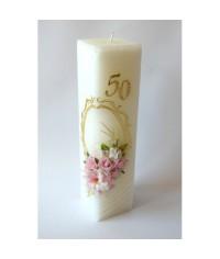 Jubilejná sviečka kváder Ružové kvety
