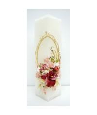 Jubilejná sviečka kváder Bordové kvety
