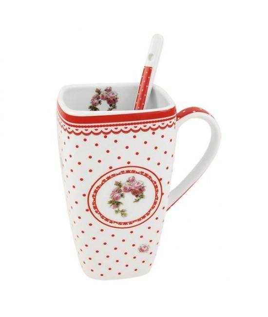 Hrnček s lyžičkou Červená ruža 0,6l porcelán