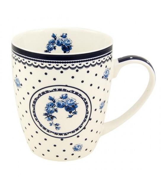 Hrnček Bielo-modrá Ruža 0,34 l porcelán