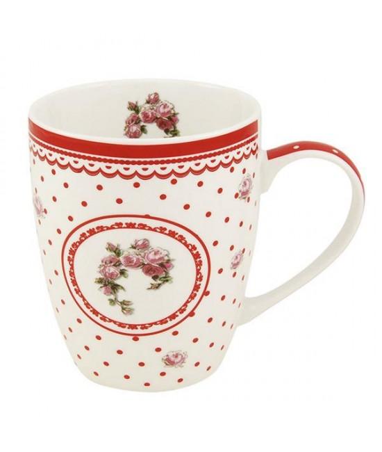 Hrnček Bielo-červená Ruža 0,34l porcelán