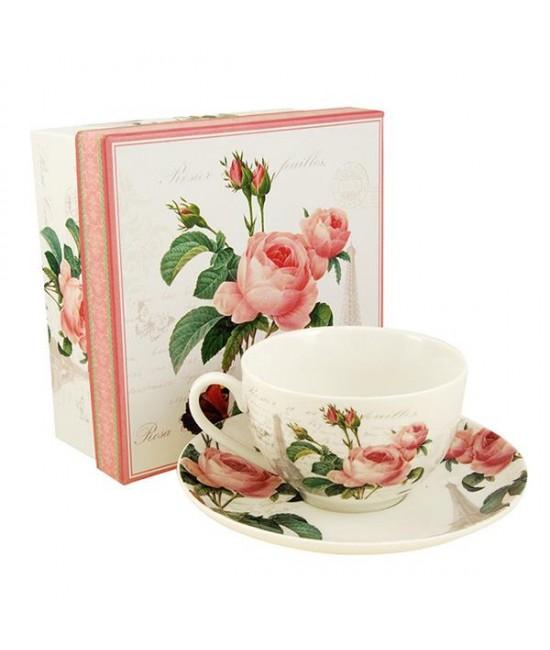 Šálka s podšálkou Pink Rose 0,25l porcelán