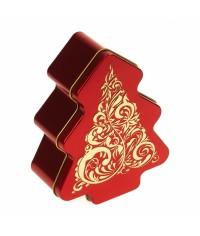 Plechová dóza Červeno zlatý strom 142 x 112 x 50 mm
