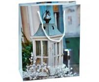 Darčeková papierová taška - drevený lampášik