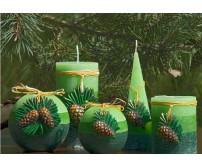 Rustic Borovica, guľa 10 cm sviečka